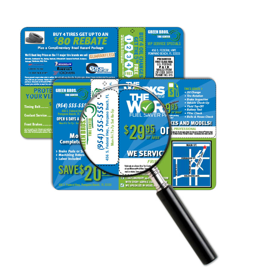 business card mailers add on