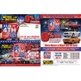 11 x 17 Tri-fold July 4th Automotive Direct Mail Marketing Jumbo Mailer Sample