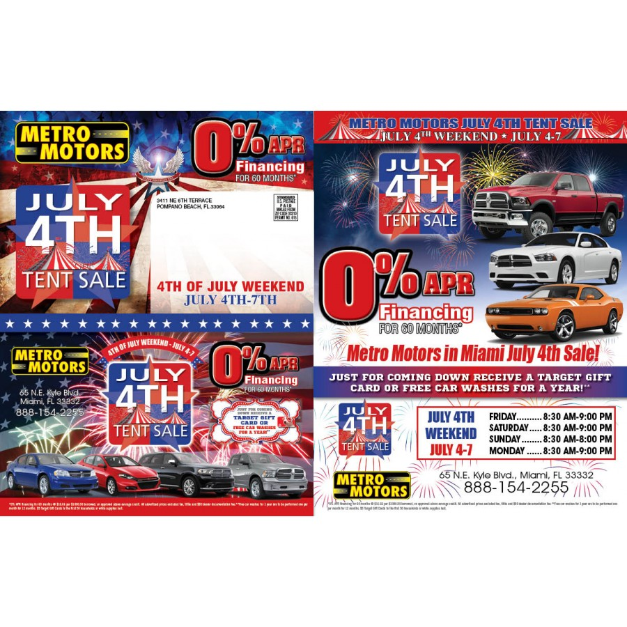 11 X 17 Tri Fold July 4th Automotive Direct Mail Marketing
