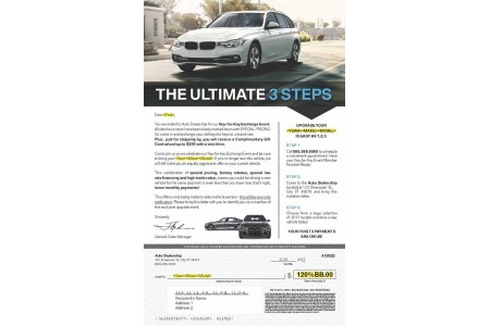 8.5 x 14 BMW Match Mailer Envelope and Mail Piece Sample