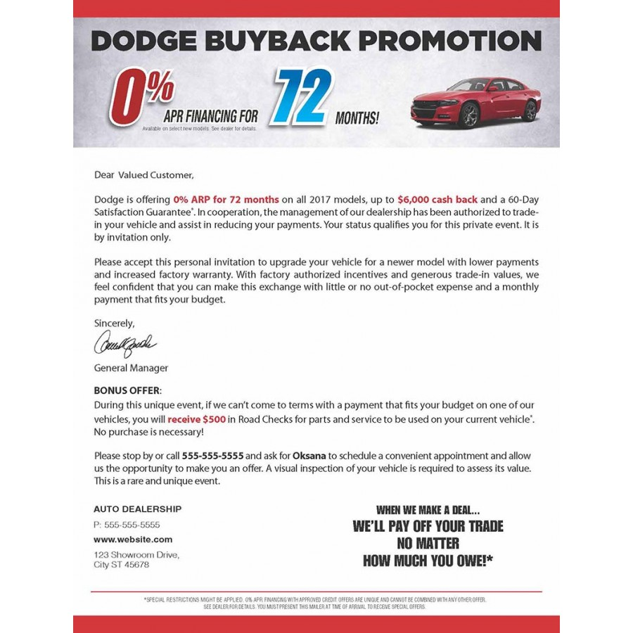 85 X 11 Dodge Auto Direct Mail Sample With Business Card For