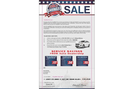 Kia Marketing Snap Pack Mailer Sample for Automotive Direct Mail Advertising
