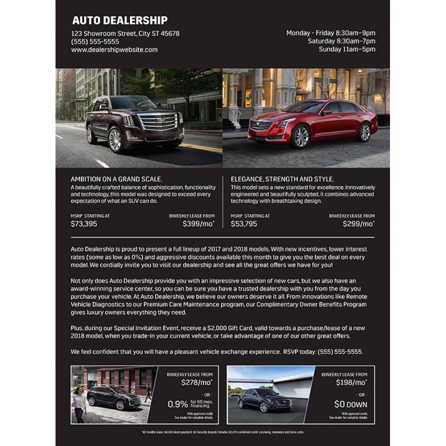 825 x 11 cadillac advertising sample for automotive direct mail 825 x 11 cadillac advertising sample for automotive direct mail marketing altavistaventures Choice Image