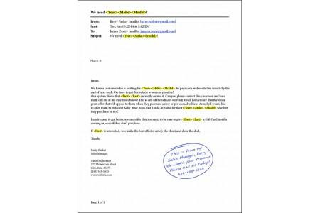 Hyundai Advertising Match Mailer Sample with Business Card