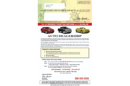 Pre-Selected Auto Financing Direct Mailer Examples