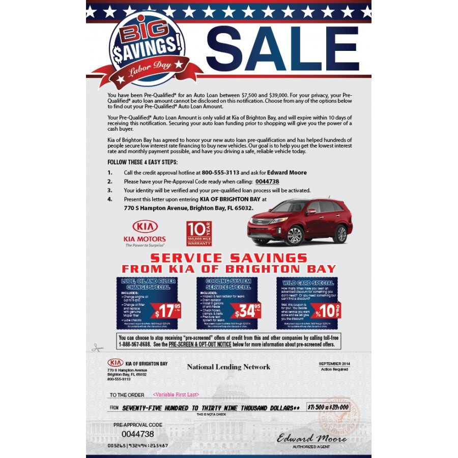 Kia Marketing Snap Pack Mailer Sample for Automotive Direct Mail
