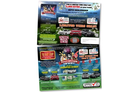 10 x 14 Football Themed Automotive Direct Mail Advertising