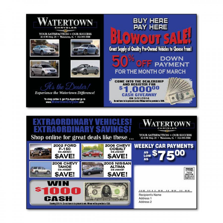 6 x 11 automotive direct mail postcard advertising mailer. Black Bedroom Furniture Sets. Home Design Ideas
