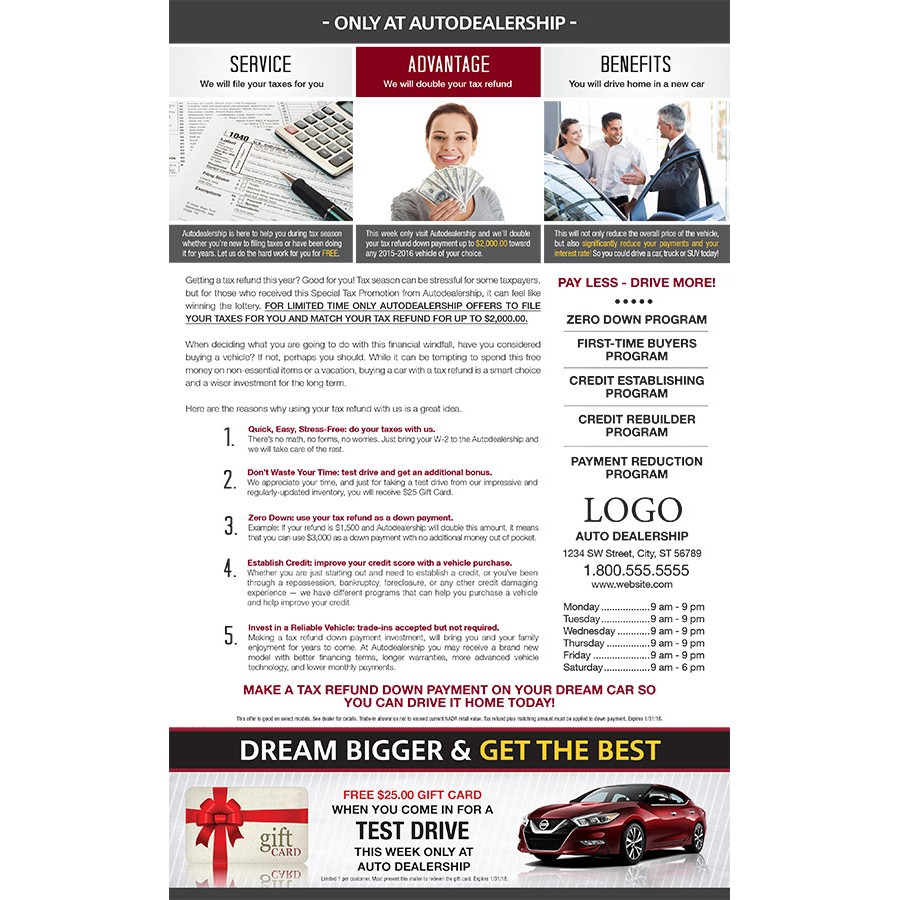 8.5 X 14 Income Tax Return 2X For Automotive Direct Mail
