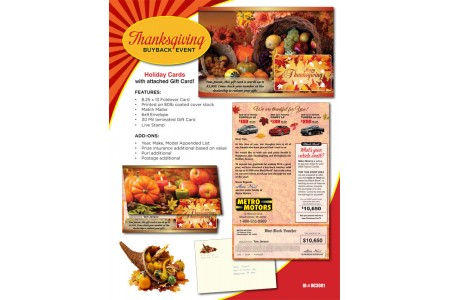 Thanksgiving Holiday Direct Mail Advertising Cards