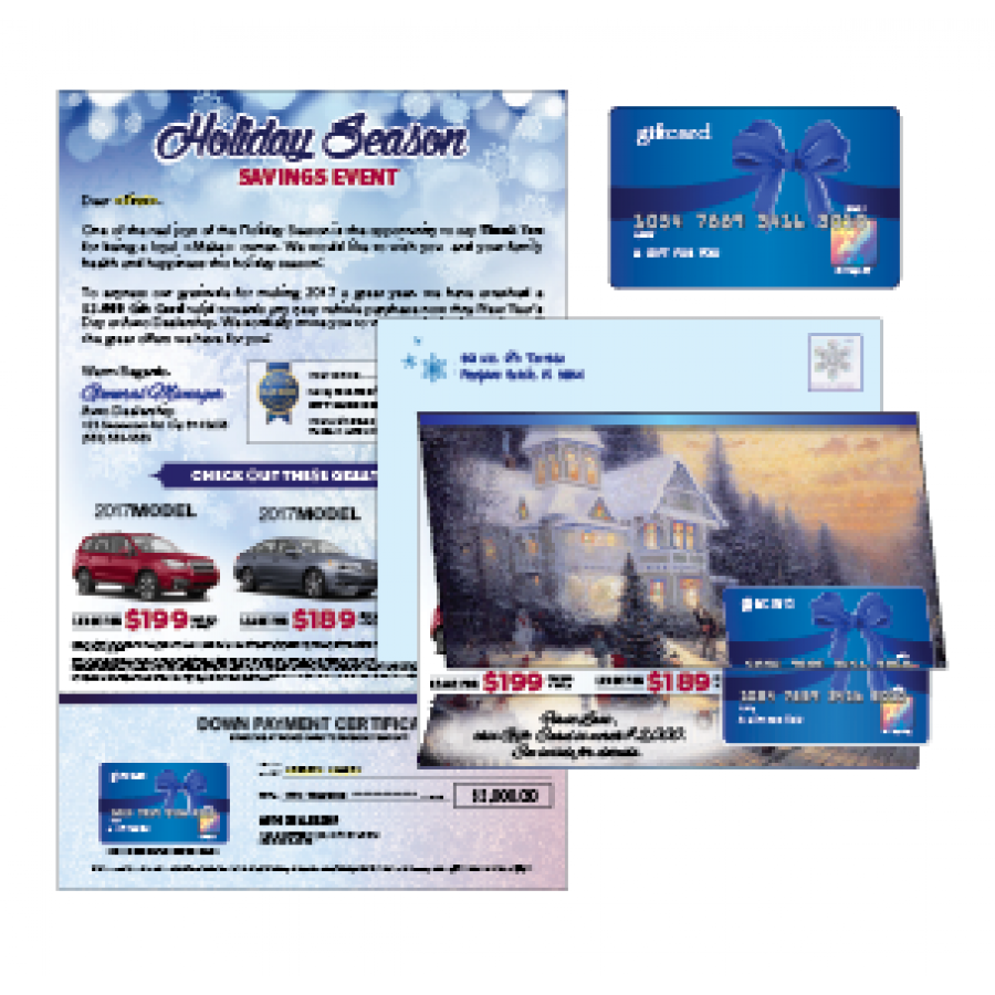 825 x 13 holiday season direct mail marketing card with