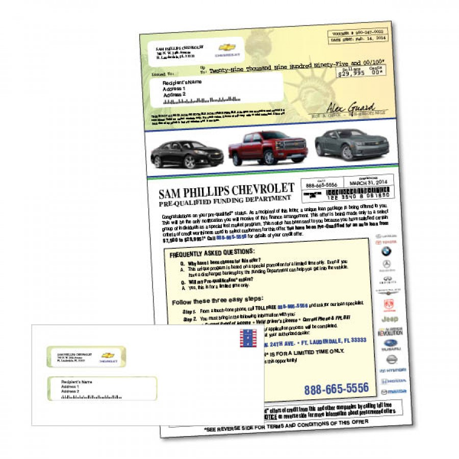 8 5 X 14 Pre Qualified Special Finance Automotive Mailer